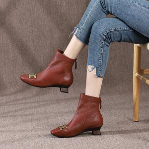 Quality HZM028 Autumn And Winter New Style Martin Boots Leather Women'S Leather Boots Square Toe Low-Heeled Fashion Temperament for sale