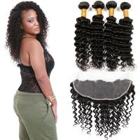Quality Healthy 100 Unprocessed Virgin Brazilian Hair Deep Wave Customized Color for sale