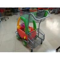 Quality Powder Coating Plastic Basket Cartoon Kids Shopping Carts with PU Wheel for sale