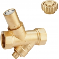 Quality 1109 Magnetic Lockable Brass Valve Multi-turn Metal to Metal Type Female x Female Threads with Filter and Meter Outlet for sale
