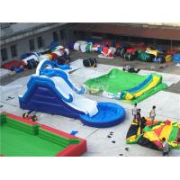 Buy Commercial Giant Pvc Tarpaulin Inflatable Water Slides With Pool Customized at wholesale prices