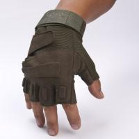 Quality Army Protective Fingerless Tactical Gloves , Military Shooting Gloves Fast Drying for sale