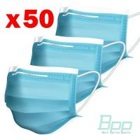 Quality 50pcs / Pack Blue Face Mask Non Woven Melt Blown Fabric 95% BFE CE FDA for sale