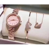 Quality Elegant Quartz OEM watch Wrist Watch with Swan Ring and necklace Ladies