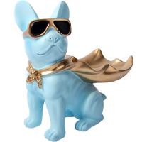 Quality Modern Blue Bulldog Polyresin Animal Figurines Candy Snack Holder Plate for sale