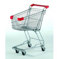 Quality Small Supermarket Shopping Cart  60L Metal Wire Basket Trolley With Wheels for sale