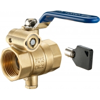 Quality 1702-SC Long Lever FxF Mechanical Key Lock Brass Ball Valve DN20 DN25 DN32 Lock Unit Attachable with Bottom Meter Outlet for sale