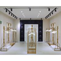Quality Women Clothing Store Shelves / Retail Clothing Display Systems Golden Color for sale