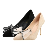 Quality ZM002 929-42 Korean Version 2020 New Pointed Pumps Stiletto High Heels Large Size Super High Heel Bow Shoes for sale
