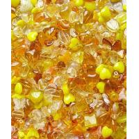 Quality yellow/topaz Mixed pressed glass beads for sale