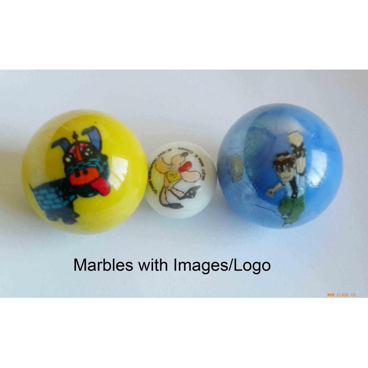 Glasswork glass marble with printing