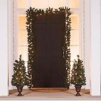 Quality Value 4 Pack! Set Of Two 3' Trees In Urns & Set of Two Decorative Garlands for sale
