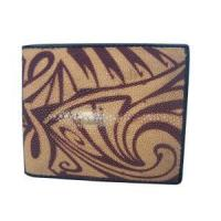 Quality Light Brown Tribal Design Stingray Men Wallet for sale