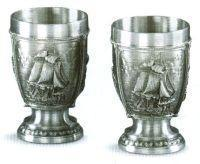 Quality La Paloma Sailing Ships German Pewter Shot Glasses for sale