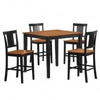 Buy cheap 5 PC Beaumont Wood Pub Table Set in Natural and Black - Walker Edison from wholesalers