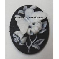 China 40x30 oval butterfly white black resin cameos (2 pieces) on sale