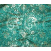 Silk Brocade - Green Feather Floral 29""