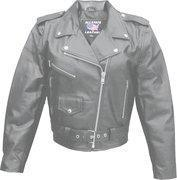 Ladies Basic Classic Cowhide Motorcycle Jacket - Sizes XS to 5XL