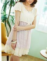 Quality Elegant and charming buckle Lace stitching Chiffon Dress F7148P for sale