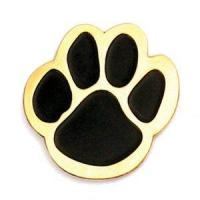 Quality Black and gold mascot paw lapel pin. $2.56ea for sale