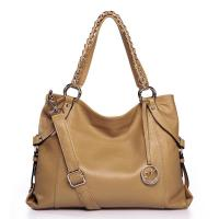 NUCELLE Real Genuine Cow Leather Purse Tote Shoulder Hand Beige
