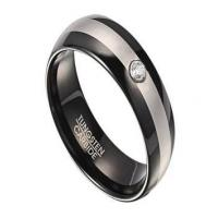 Quality Two Tone Tungsten Wedding Ring for Men with Single CZ | 8mm for sale