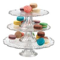 China OLYMPIA 3 TIER GLASS CAKE PLATE STAND SERVER on sale