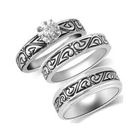 Quality 1/10 CT. T.W. Diamond Tribal Design Wedding Ensemble in Sterling Silver with Black Enameling for sale