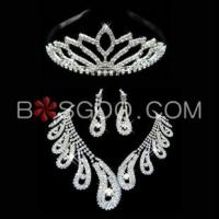 Quality Weddings & Events 3 Pieces Shiny Clear Austrian Crystal Wedding Bridal Jewelry Sets for sale