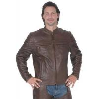 Quality Brown Leather Mandarin Jacket for sale