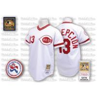 Mitchell and Ness Cincinnati Reds #13 Dave Concepcion Authentic White Home Throwback Man MLB Jersey