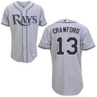 Quality Tampa Bay Rays #13 Carl Crawford Authentic Grey Road Man MLB Jersey for sale