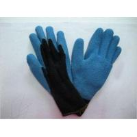 Quality Warm Winter Gloves Wrinkle Finish Abrasion Resistance Blue Latex Coated Warm Winter Gloves for sale
