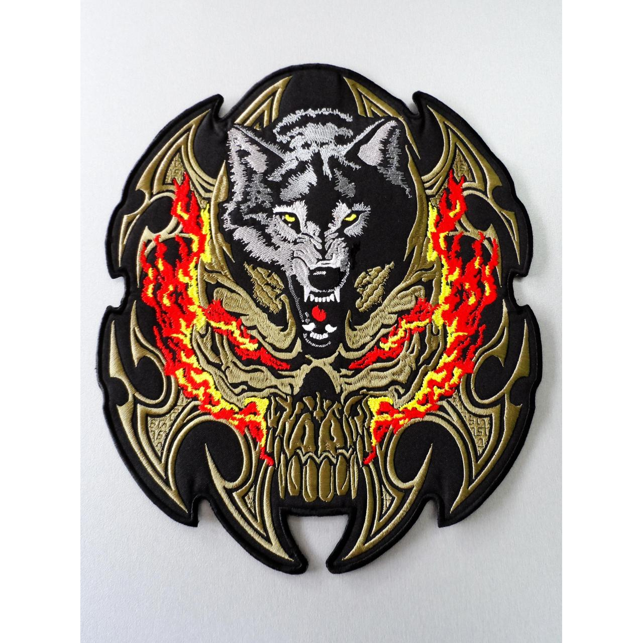 China Embroidered Biker Motorcycle Skull Wolf Patch on sale