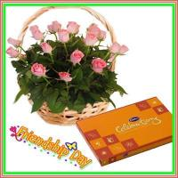 Gift For Special Day Pink Roses with Celebration Chocolates 4 Dear Friend