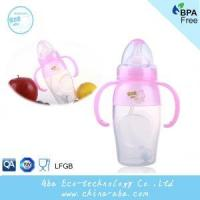 Quality New Style Infant Baby 240ML Wide Neck Anti-microbial Silicone Feeding Bottle With Handles and Straw for sale