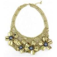 Quality New style women female fashion newest design flower gold alloy necklace for sale