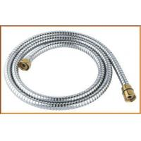 Quality Toilet chrome plated double lock shower hose with golden nuts for sale