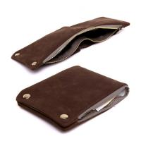 Quality Fashion design trendy style minimalist genuine cowhide leather zipper credit card wallet for men for sale