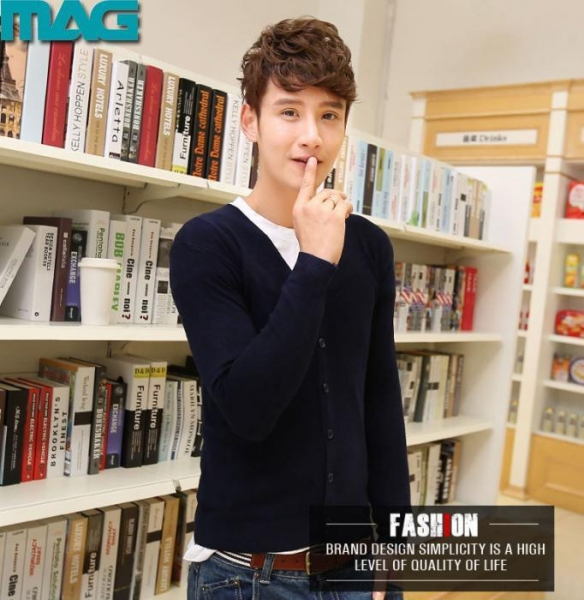 Buy Men 2015 new style v neck couple cardigan sweater at wholesale prices