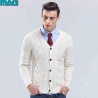Quality Men men winter cable white cardigan sweater for sale