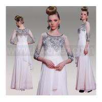 Quality Grey Long Formal Wedding Party Dress Prom dress, 3/4-Length Sleeves Multi-level White Chiffon for sale