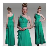 Quality New Style Green One Shoulder Sleeveless Prom Dress, Evening dress With Beaded & Pleat for sale