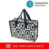 Quality White mixed black non woven zipper tote bags for sale