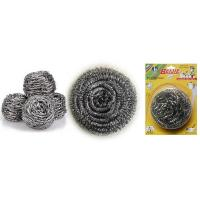 Quality stainless steel scourer/sponge/cleaning ball for kitchen with plastic handle Scourer for sale