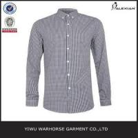 Quality Brown And Navy Gingham Long Sleeve Smart Shirt for sale