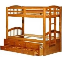 Quality Triplet Honey Pine Bunk Bed with Trundle and 3 Drawers for sale