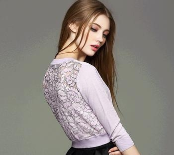 Buy d10640b 2016 european women cardigan ladies lace flower stitching sweater knitted sweater at wholesale prices