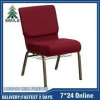 Quality Hot sell item stacking metal church chairs used with bookrack for sale