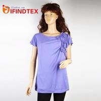 China Top & T-shirts IFD-DX076Ladies knitted T-shirt, 50%rayon 50%polyester on sale
